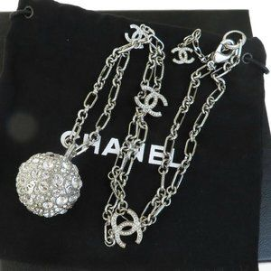 CHANEL CC Chain Rhinestone Necklace Silver Plated